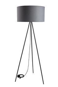 Nowoczesna lampa podłogowa o ponadczasowej formie w kolorze szarym.  Czarna podstawa.  Wyprodukowano w Polsce.  Specyfikacja:  wysokość: 136...