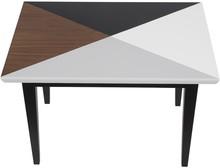 Stolik kawowy z kolekcji 2B o charakterystycznym blacie w czterech współgrających ze sobą kolorach.  Materiał:drewno bukowe / płyta MDF...