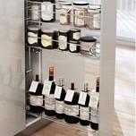 CARGO MINI boczne prawe na przyprawy i butelki otwierane na dotyk PUSH-OPEN 3-poziomowe do szafki szerokości 15 cm. Kolor lakier efekt chrom System Jezdny...