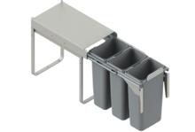 Kosz na śmieci potrójny JC603 do szafki 30 z mocowaniem frontu z prowadnicami kulkowymi pełnego wysuwu z dociągiem.  Idealne zastosowanie do kuchni w...