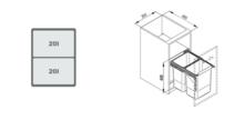 Pojemnik Na Odpady JC602 40 Podwójny (2x20l )Z Mocowaniem Frontu - Rejs