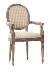 <br />Materiał:drewno buk/tapicerka<br />Kolor drewna: bielony brąz<br />Kolor tapicerki: kratka jasny beż<br />Kolekcja Palida...