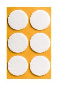 Podkładki meblowe Koło fi 40 mmfilc kolor Biały  Podkładki sprzedawane w arkuszach. Ilość podkładek na arkuszu- 6 szt.