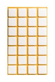 Podkładki meblowe Kwadrat 20x20 mmfilc kolor Biały  Podkładki sprzedawane w arkuszach. Ilość podkładek na arkuszu- 28 szt.