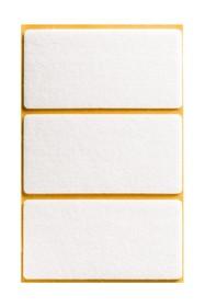 Podkładki meblowe Prostokąt50x100 mmfilc kolor Biały  Podkładki sprzedawane w arkuszach. Ilość podkładek w arkuszu- 3 szt.