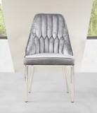 Krzesło Alvaro  Materiał wykonania:  - stal nierdzewna polerowana - tapicerka - velur  Wymiary:  - głębokość: 55 cm - szerokość: 55 vm -...
