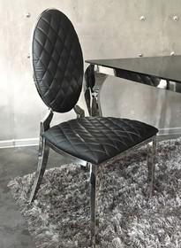 Krzesło medalion pikowane - czarne