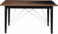 Nowoczesny stół z kolekcji 2B w kolorze orzecha amerykańskiego z charakterystycznym wcięciem na blacie do wyboru w trzech kolorach RAL (szarym, czarnym i...