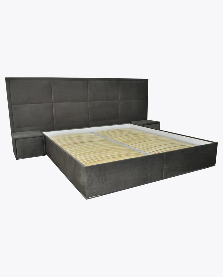 łóżko Sypialniane 3 Z Szafkami Nocnymi Wysuwanymi Dotykowo