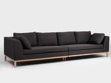 Sofa AMBIENT WOOD 4 os. - karbon(et95), naturalny