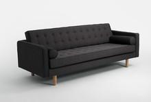 Sofa TOPIC WOOD 3 os. rozkł. - karbon(et95), naturalny