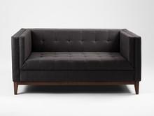 Sofa by-TOM 2 os. rozkł. - karbon(et95), orzech