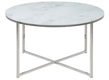 Materiał: chromowany metal, szkło, tworzywo sztuczne Kolor: srebrny, marmurowy wzór (nadruk) Grubość blatu: 6 mm  Wymiary: -Wysokość: 45 cm...