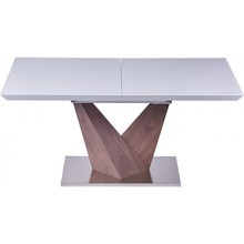 Rozkładany stół Enzo EX Blat stołu wykonany jest z lakierowanego MDF w kolorze białym Drewniana noga w kolorze orzechu, podstawa wykonana jest ze...