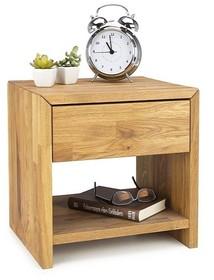 Szafka nocna Albert wykonana z drewna dębowego, stworzy idealny komplet wraz z łóżkiem o tej samej nazwie.  Wymiary: 40 cm x 40 cm x 33 cm
