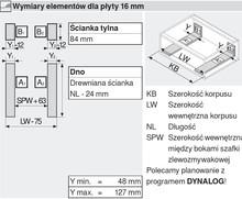 Szuflada Tandembox Wys.M=83mm ZLEWOZMYWAKOWA Dł.50cm 30kg CZARNA - Blum