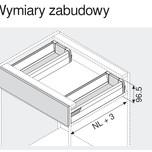 Zestaw elementów do wykonania szuflady M Zlewozmywakowej z hamulcem BLUMOTION Wysokość boku M=83mm Długość prowadnic 500mm Kolor jedwabiściebiały...