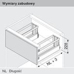 Zestaw elementów do wykonania szuflady M Zlewozmywakowej z hamulcem BLUMOTION Wysokość boku D=198mm Długość prowadnic 500mm Kolor Brunatnoczarny...