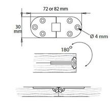 Zawias Stołu 30 x 72 x 2 mm Efekt Stali Nierdzewnej - Siso