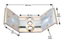 Obejma trójotworowa do nogi stołu. Wysokość: 60 mm. Materiał: stal Grubość materiału: 2 mm Wykończenie - ocynk