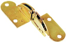 Uniwersalny zawias ELU do blatów składanych. Do płyty/blatu o grubości 24 mm Kąt: 180st. Materiał: Stal Wykończenie: żółty ocynk Wymiary: 85 x 46 mm