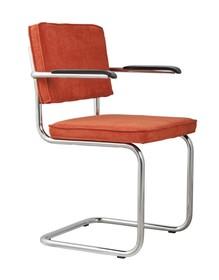 Fotel Ridge Rib w kolorze pomarańczowym  Materiał: Obicie krzesła wykonane ze sztruksu: 88% nylon, 12% polyester. Rama krzesła chromowana z połyskiem....