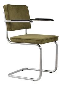 Fotel Ridge Rib w kolorze zielonym.  Materiał: Obicie krzesła wykonane ze sztruksu: 88% nylon, 12% polyester. Rama krzesła chromowana z połyskiem....