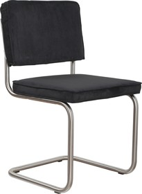 Krzesło Ridge Rib w kolorze czarnym.  Materiał: Obicie krzesła wykonane ze sztruksu: 88% nylon, 12% polyester. Rama krzesła - stal szczotkowana. ...