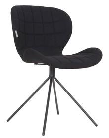 Krzesło OMG w kolorze czarnym marki Zuvier  Materiał: Siedzenie i oparcie krzesła wykonane ze sklejki. Pokryte miękkim materiałem i tkaniną z...