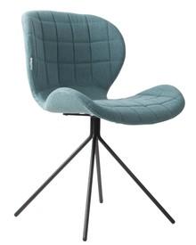Krzesło OMG w kolorze niebieskim marki Zuvier  Materiał: Siedzenie i oparcie krzesła wykonane ze sklejki. Pokryte miękkim materiałem i tkaniną z...