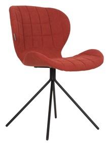 Krzesło OMG w kolorze pomarańczowym marki Zuiver  Materiał: Siedzenie i oparcie krzesła wykonane ze sklejki. Pokryte miękkim materiałem i tkaniną z...