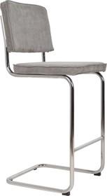 Stołek barowy Ridge w kolorze szarym  Materiał: Obicie wykonane ze sztruksu: 88% nylon, 12% poliester. Rama krzesła chromowana z połyskiem. ...