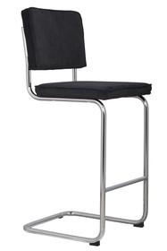 Stołek barowy Ridge w kolorze czarnym  Materiał: Obicie wykonane ze sztruksu: 88% nylon, 12% poliester. Rama krzesła chromowana z połyskiem. ...