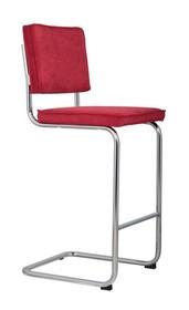 Stołek barowy Ridge w kolorze czerwonym  Materiał: Obicie wykonane ze sztruksu: 88% nylon, 12% poliester. Rama krzesła chromowana z połyskiem. ...