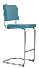 Stołek barowy Ridge w kolorze niebieskim  Materiał: Obicie wykonane ze sztruksu: 88% nylon, 12% poliester. Rama krzesła chromowana z połyskiem. ...