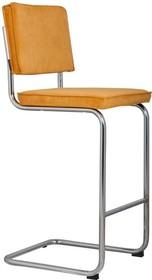 Stołek barowy Ridge w kolorze żółtym  Materiał: Obicie wykonane ze sztruksu: 88% nylon, 12% poliester. Rama krzesła chromowana z połyskiem. ...