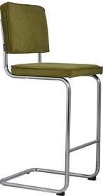 Stołek barowy Ridge w kolorze zielonym  Materiał: Obicie wykonane ze sztruksu: 88% nylon, 12% poliester. Rama krzesła chromowana z połyskiem. ...