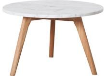 Stolik White Stone duży  Materiał: Blat marmurowy, rama stołu wykonana z litego drewna dębowego.  Wymiary: Grubość blatu 18 mm Średnica blatu 50...