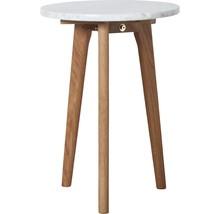 Stolik White Stone mały  Materiał: Blat marmurowy, rama stołu wykonana z litego drewna dębowego.  Wymiary: Grubość blatu 18 mm Średnica...
