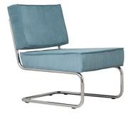 Fotel Ridge Lounge Rib  Materiał: Obicie fotela wykonane ze sztruksu w kolorze niebieskim Rama metalowa, chromowana z połyskiem  Wymiary: Wysokość:79...