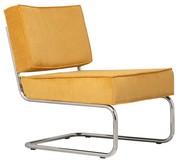 Fotel Ridge Lounge Rib   Materiał: Obicie fotela wykonane ze sztruksu w kolorze żółtym Rama metalowa, chromowana z połyskiem  Wymiary:...