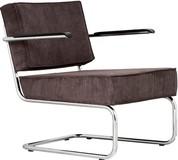 Fotel Ridge Lounge Rib z podłokietnikami  Materiał: Obicie fotela wykonane ze sztruksu w kolorze szarym Rama metalowa, chromowana z połyskiem  Wymiary:...