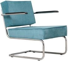 Fotel Ridge Lounge Rib z podłokietnikami  Materiał: Obicie fotela wykonane ze sztruksu w kolorze niebieskim Rama metalowa, chromowana z połyskiem ...