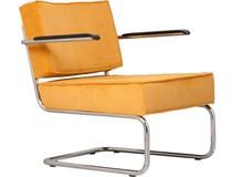 Fotel Ridge Lounge Rib z podłokietnikami  Materiał: Obicie fotela wykonane ze sztruksu w kolorze żółtym Rama metalowa, chromowana z połyskiem ...