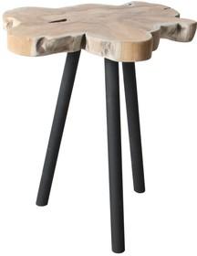 Stolik TREETOP  Materiał: Blat wykonany z naturalnego kawałka pnia drewna mango, nogi metalowe.  Wymiary: Wysokość 45 cm Szerokość 30 cm...
