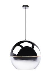 """Lampa wisząca Retro """"70 Chrome  Materiał: Lampa metalowa, chromowana. Przewód przeźroczysty.  Wymiar: Wymiary kuli/abażuru: 50x47 cm Wysokość..."""