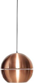 """Lampa wisząca Retro """"70 miedziana.  Materiał: Lampa metalowa w kolorze miedzianym. Przewód czarny w oplocie.  Wymiary kuli/abażuru: 40x37 cm..."""