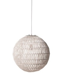 Lampa wisząca Cable 40, w kolorze białym. Wykonana ze splotu metalowego drutu oraz papieru. Chromowana podsufitka oraz szkielet podtrzymujący abażur. ...
