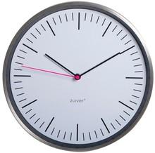 Zegar STEEL, rozmiar S.  Zegar wykończony stalowym obramowaniem, wskazówka sekundowa koloru różowego.  Średnica zegara 30 cm. Zegar zasilany baterią...