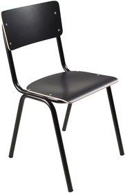 Krzesło BACK TO SCHOOL HPL w kolorze czarnym.  Materiał: Rama wykonana z metalu, siedzisko i oparcie z lakierowanej sklejki  Wymiary: Wysokość:...